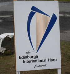 Roadside sign for Edinburgh Harp Festival
